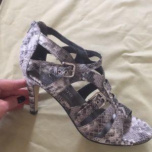 Franco Sarto snake skin sandals.